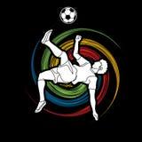 足球运动员翻筋斗反撞力,倒钩球行动图表传染媒介 免版税图库摄影