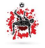 足球运动员翻筋斗反撞力,倒钩球行动图表传染媒介 免版税库存照片