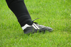 足球运动员行程 库存照片