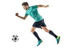 足球运动员被隔绝的人赛跑 免版税库存照片