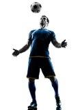 足球运动员被隔绝的人剪影 免版税库存图片