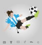 足球运动员解雇与油漆泼溅物设计的球 皇族释放例证