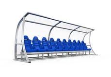 足球运动员长凳 免版税图库摄影