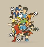 足球运动员队构成图表传染媒介 库存照片