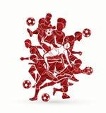 足球运动员队构成图表传染媒介 免版税库存照片