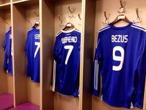 足球运动员T恤杉在基辅奥林匹克体育场 库存照片