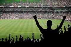 足球迷庆祝 免版税库存图片