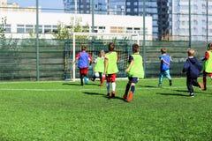 足球队-红色和蓝色,绿色一致的戏剧足球的男孩在绿色领域 成队比赛,训练,活跃生活方式, 免版税库存照片