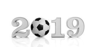 足球,橄榄球, 2019年 与在白色背景隔绝的足球的新年2019年 3d例证 图库摄影