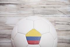 足球:国际Compe的哥伦比亚足球背景 库存图片