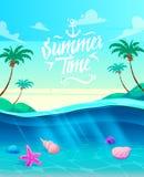 满足言情海运假期向量的节假日节假日 海岛和船的看法在海洋 库存例证