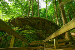 足迹在花岗岩巨石城附近牵制 免版税库存照片