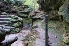 足迹标志签到峡谷 库存图片