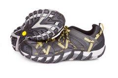 足迹跑鞋,隔绝在白色 免版税库存图片