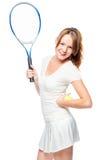 活跃女孩爱打网球,在白色的画象 库存照片