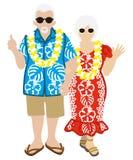 活跃资深夫妇,夏威夷游人被隔绝 免版税库存照片