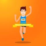 活跃年轻人赛跑和训练马拉松的炫耀 免版税库存图片