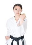 跆拳道妇女画象 免版税图库摄影