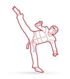 跆拳道高反撞力行动用卫兵设备 免版税库存照片