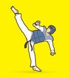 跆拳道高反撞力行动用卫兵设备 图库摄影