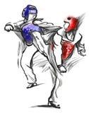 跆拳道 一个大型手拉的例证 免版税库存照片