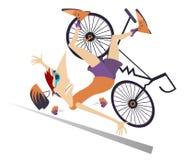 跌倒从自行车的骑自行车者隔绝了例证 免版税库存照片
