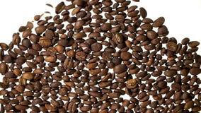 跌倒在白色backgound的咖啡豆填装屏幕空间 股票录像