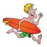 跑与冲浪板的冲浪者 库存照片