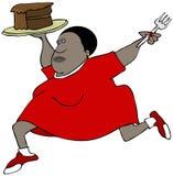 跑与巧克力蛋糕片断的胖的妇女  向量例证