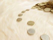 跑与时间的硬币 库存图片
