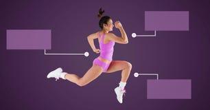 跑与空白的infographic图盘区的运动锻炼妇女 图库摄影