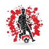 跑与足球行动图表传染媒介的足球运动员 免版税库存图片