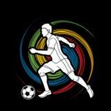 跑与足球行动图表传染媒介的足球运动员 库存图片