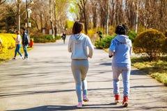 跑为体育的母亲和成人女儿在更好的健身的公园 免版税库存照片