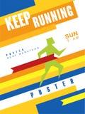 跑五颜六色的海报,最佳的马拉松,体育比赛的,冠军,比赛模板的Keep,可以为卡片使用 库存例证