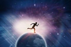 跑从出发台的确信的男性运动员的综合图象 免版税库存图片
