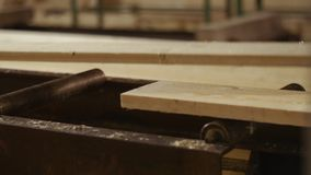 跑入木匠处理器机器的木板条在锯木厂工厂 影视素材
