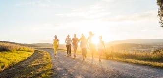 跑和使用在夏天风景的一条道路的嬉戏的家庭 免版税图库摄影