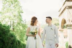 跑和跳跃在公园的新婚的夫妇,当握手时 免版税库存图片