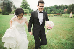 跑和跳跃在公园的新婚的夫妇,当握手时 库存图片