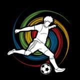 跑和踢球行动图表传染媒介的足球运动员 免版税库存照片