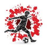 跑和踢球行动图表传染媒介的足球运动员 图库摄影