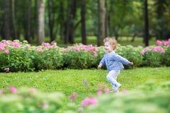 跑在一个美丽的公园的可爱的卷曲女婴 免版税库存照片