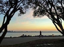 跑在与五颜六色的天空的日落的慢跑者的剪影 图库摄影