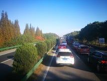 跑在中国高速公路和乡下途中 免版税库存图片