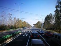 跑在中国高速公路和乡下途中 免版税库存照片