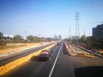 跑在中国高速公路和乡下途中 免版税图库摄影