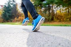 跑在五颜六色的秋天自然的公园的年轻运动员 库存照片