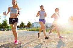 跑在公园的小组妇女 图库摄影