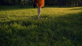 跑在公园的愉快的少妇在绿草调遣, 股票视频